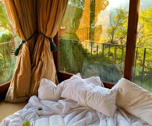 bed, window, and summer image