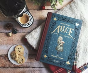 book, alice, and coffee image