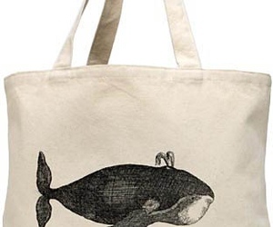 bag, etching, and whale image