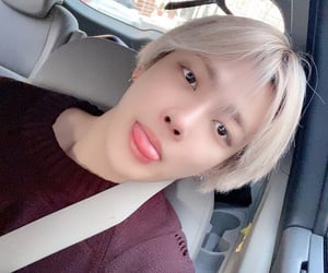 blonde hair, car, and wooyoung image