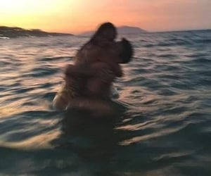 sea, sunset, and together image