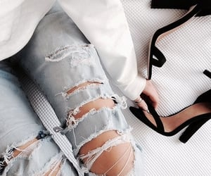 blue jeans, ripped jeans, and classical image