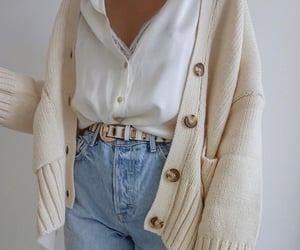 cardigan, jean, and outfit image