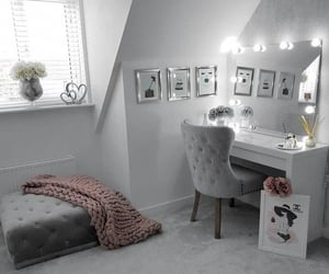 grey silver white, bedroom dressing office, and makeup room table image