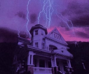house, lightning, and purple image