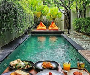 food, pool, and travel image