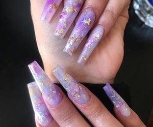 acrylics, nails, and purple nails image
