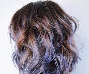 blue purple, ombre, and hair goals image
