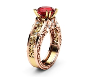 artdeco, red gemstone ring, and gemstonering image