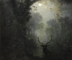 deer, art, and forest image