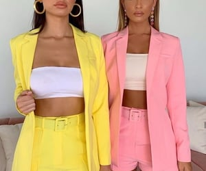 fashion, pink, and yellow image
