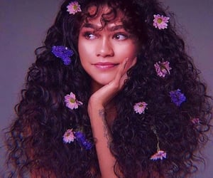 girl, zendaya, and flowers image