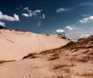 beach, clouds, and dunes image