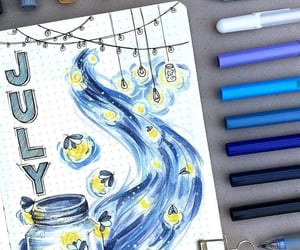 art, blue, and july image