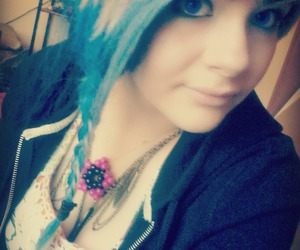 blue hair, girl, and scene image