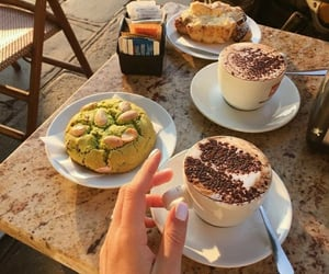 breakfast, cappuccino, and coffee image