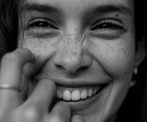 smile, beauty, and black and white image