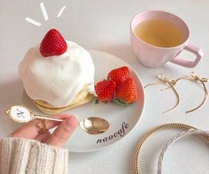 cake, coffee, and flowers image