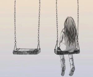 alone, swing, and art image