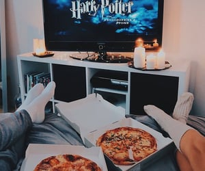 harry potter, pizza, and couple image