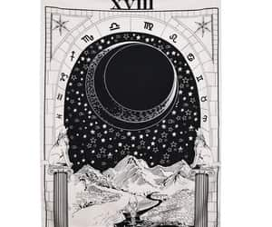 hippie tapestry, moon poster, and black white tapestry image