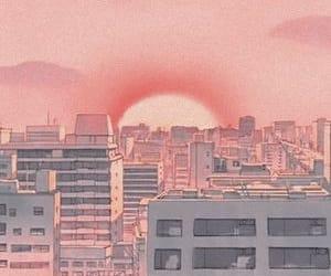 pink, anime, and city image