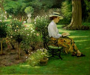 book, garden, and reading image