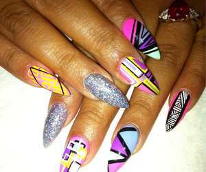 colorful, nails, and stiletto image