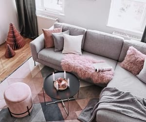 grey, living room, and pink image