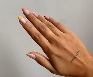 nails, tattoo, and yellow image
