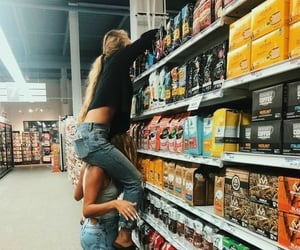 girls, friends, and supermarket image