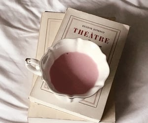 drink, books, and pink image