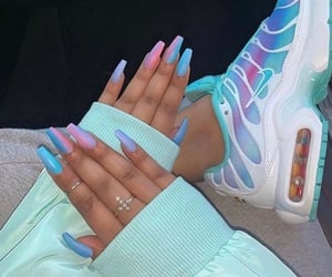 nails, blue, and sneakers image