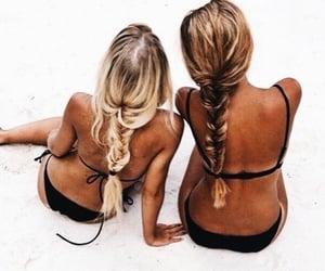 beach, black, and friendship image