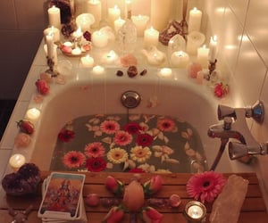 flowers, bath, and candle image