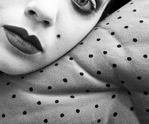 dots, girl, and black and white image