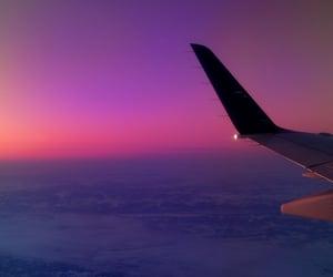 sky, plane, and sunset image