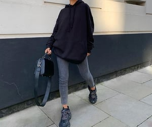 grey jeans, sleek bun, and outfit of the day ootd image