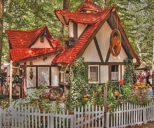 cottage, house, and flowers image