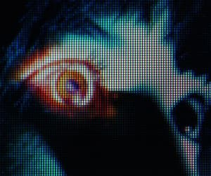 eyes, pixelated, and vhs image