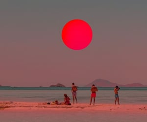 beach, aesthetic, and red image