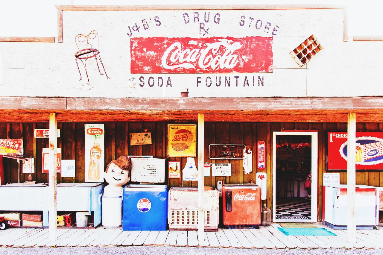 rural, small town, and store front image