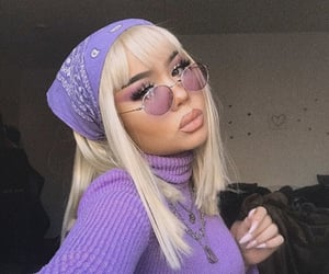 nails, purple sunglasses, and purple outfit image