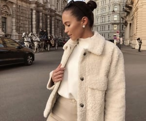 fashion, girl, and beige image