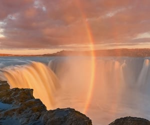 nature, rainbow, and waterfall image