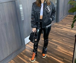black bag, outfit of the day ootd, and bomber jacket image