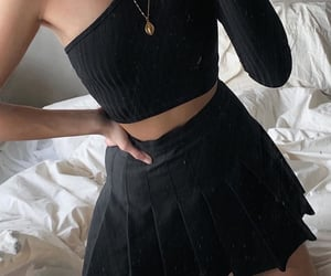 gold necklaces, outfit of the day ootd, and black tennis skirt image
