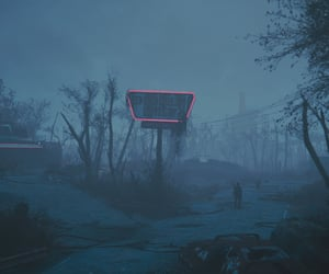abandoned, blue, and fallout image