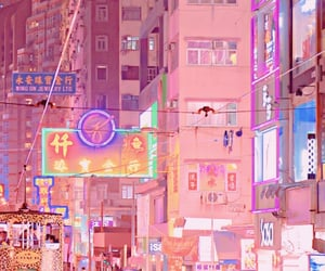 japan, neon, and buildings image