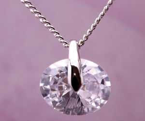 oval shape pendant, hkzoemall zoemall jewelry, and silver fashion necklace image